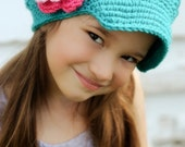 Girl's hat with Flower, Crocheted Newsgirl, Newsboy with a  Brim for baby, toddler, child, adult in Turquoise with Pink and Hot Rose Flower