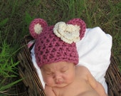 0-3 mos Teddy Bear Thick Beanie Crocheted Hat - choose your color, optional flower