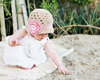 Beach Sunhat Bucket Style Sun Hat Beanie crocheted with flower in khaki, soft pink, and pink