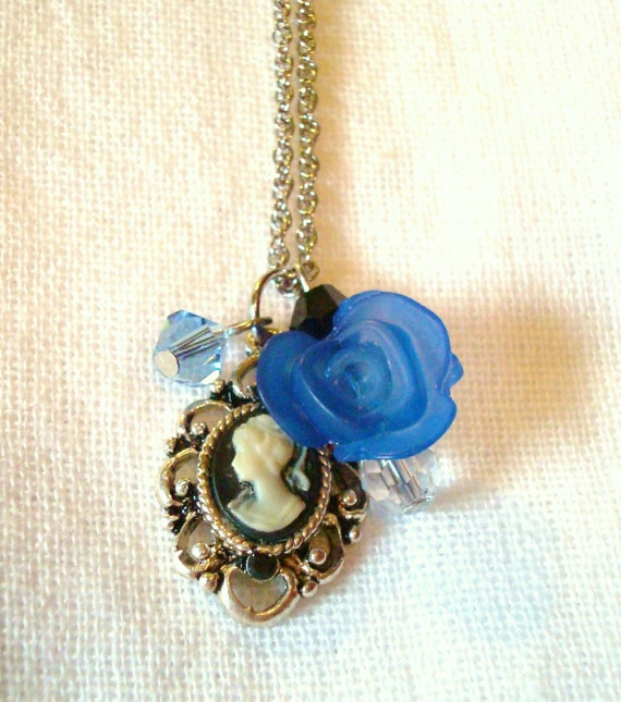 SALE. Deep Blue Cameo Necklace, with Vintage Cameo.