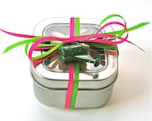 Organic Leafy Greens Seed Tape- Spinach, Swiss Chard, Kale in Tin with Ribbon and Gardening Charm