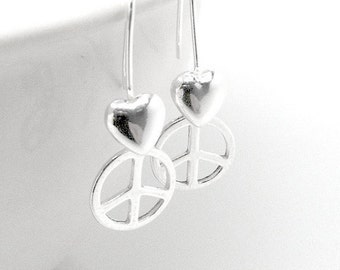 Peace Sign Earrings, Small Peace Earrings, Heart Earrings, Peace Earrings, Sterling Silver Jewelry, Peace and Love, Peace Jewelry, Heart