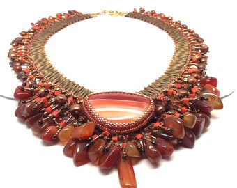 Statement Jewelry, Bib Necklace, Statement Necklace, Orange Necklace, Brown Necklace, Beaded Necklace, Beaded Jewelry,  Nubian Sunset