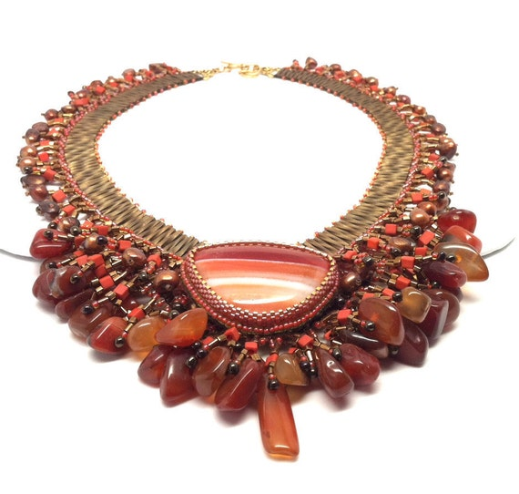 Statement Jewelry, Bib Necklace, Statement Necklace, Orange Necklace, Brown Necklace, Beaded Necklace, Beaded Jewelry,  Nubian Sunset