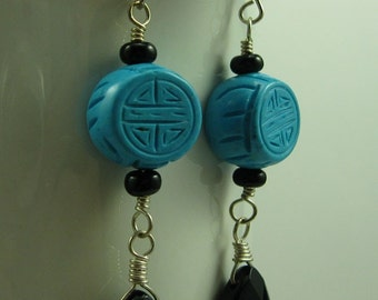 Blue and Black, Turquoise and Onyx Briolette Sterling Silver Earrings