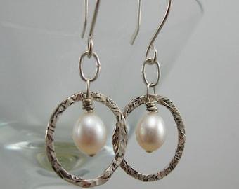 Pearl Hoop Sterling Silver Earrings