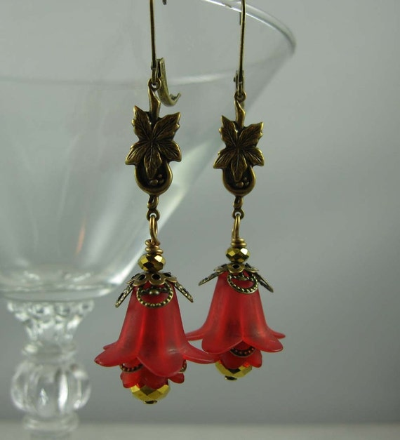 Red Flower, Lucite and Antique Brass Blossom Earrings