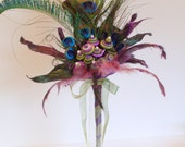 Peacock Feather Wedding Bouquet, Alternative, Non-traditional