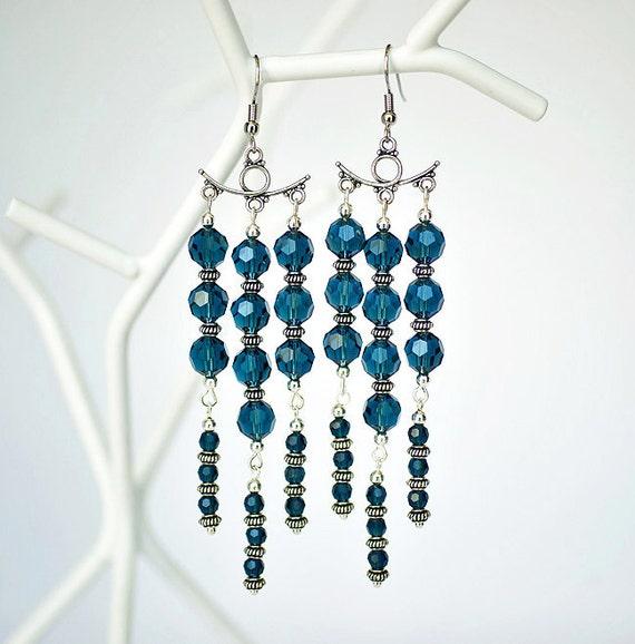 Montana Blue Chandelier Earrings, Nautical Crystal Bridesmaids Earrings, Boho Beach Wedding