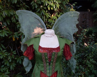 Green Woodland FAIRY WINGS Forest Sage Olive Tinkerbell Fall Autumn nymph Adult S Child L dress up Halloween Costplay