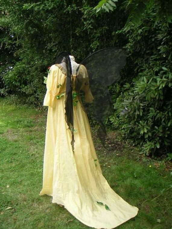 Lifesize Custom made Black FAIRY WINGS Dark Ninja Nymph Costume adult l gown dress up goddess steampunk wedding Renaissance LARP festival
