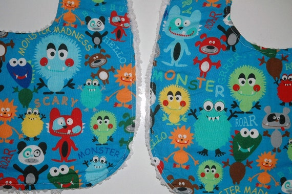 Baby/Toddler Boy Bibs, Set of 2, Cute Happy Monsters with White Minky. Made to Order.