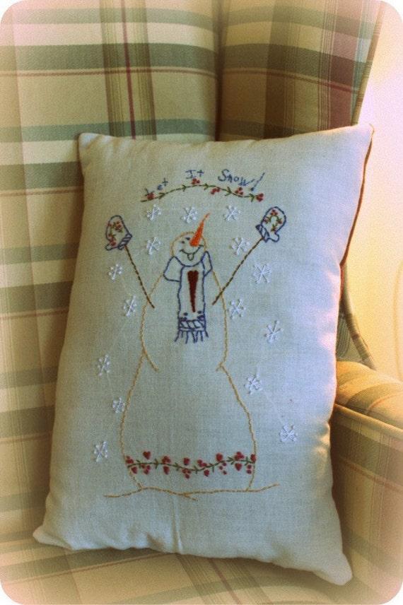 Snowman Pillow Primitive Holiday Christmas Stitchery