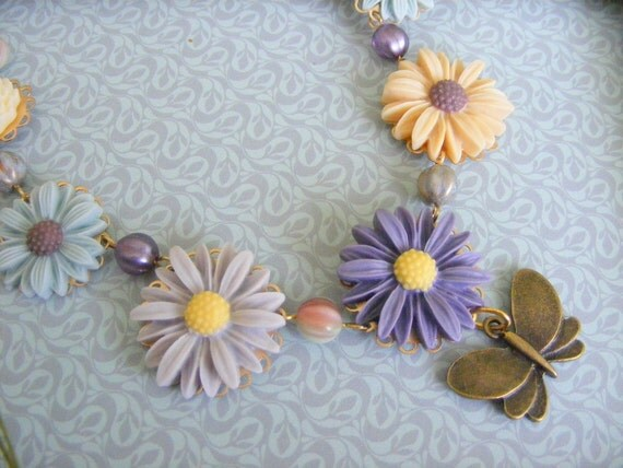 Flowers and butterfly necklace, antique brass chain
