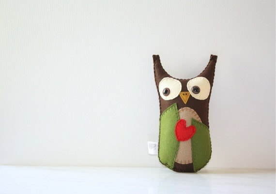 Felt Owl Plush Stuffed Animal, Owl Stuffed Animal, Felt Animal Plush, Green Brown Owl
