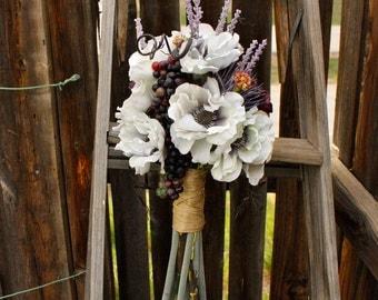 Tuscany Vineyard Wedding White and Purple Silk Bouquet (Anemones, Grapes, Poppies, Lavender, Wildflowers, Purple Safflower)