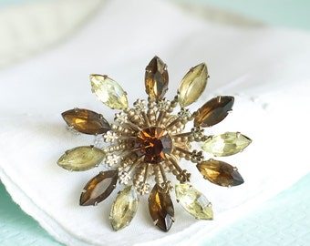 Rhinestone Starburst Brooch Amber Funky Bohemian Jewelry Bridal Wedding