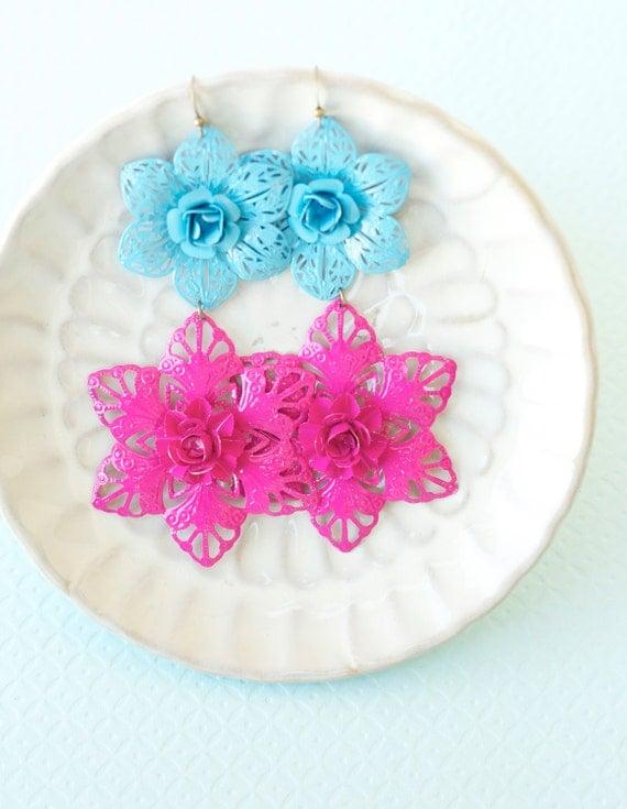 Moroccan Flower Earrings Bohemian Jewelry Blue Pink Summer Fashion Under 15 Neon Jewelry Color block