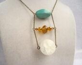 Boho Quartz Stone Amber Crystal & Teal Stone Large Ladder Necklace