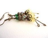 Yellow Flower & Green Crystal Bronze Earrings with Dangling Stamen