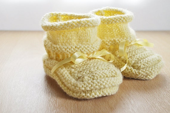 Hand Knitted Yellow Knit Booties