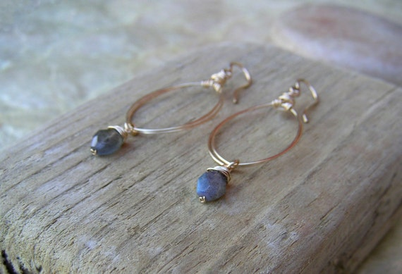 Labradorite Earring Gold Oval Hoops Long Teardrop Earring Gemstone Dangle Oval Marquise Earring Wire Jewelry Thin Gold Hoops