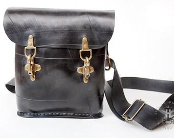 Upcycled Rubber shoulder bag Handseewed