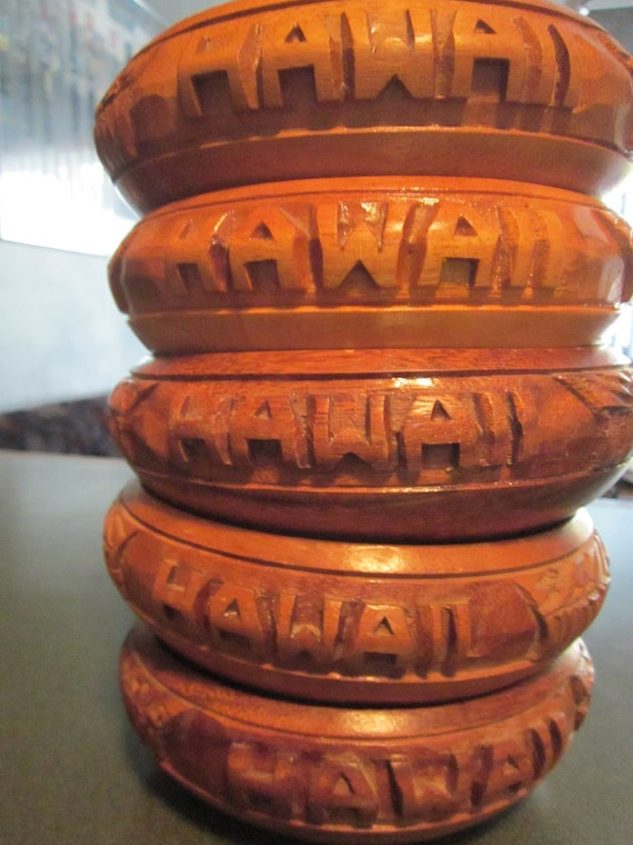 Hawaii - Set of 5 Handcrafted Wood Bowls
