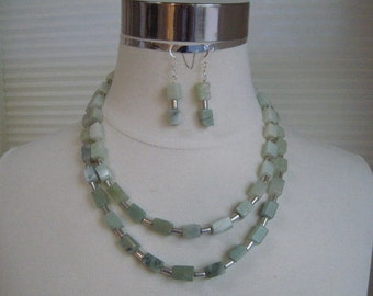 Necklace -  Sea Foam Green New Jade Necklace and Earring set