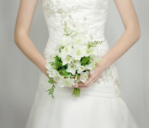 Wedding Flowers - Bridal Bouquet of White Silk Petunias - Wedding Bouquet