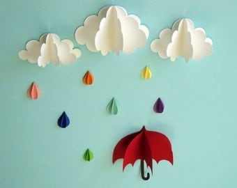 Red Umbrella, Raindrops and Clouds Wall Art/3D Paper Wall Decor/Wall Decals