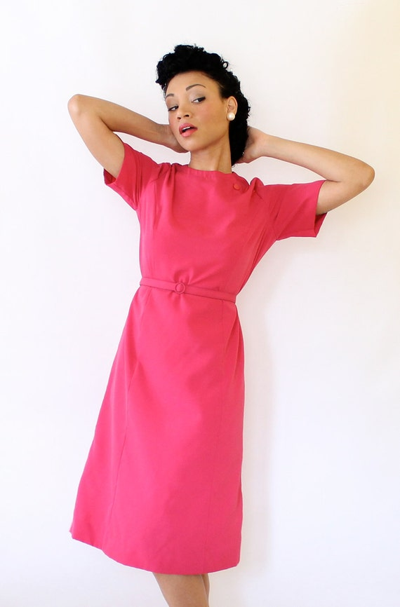 Vintage Dress Hot Pink Linen Shift w Short Sleeves Large Extra Large Plus Size