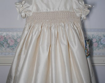 Antoinette  an exquisite champagne silk hand smocked Christening Gown, bonnet and matching petticoat, handmade, size 6 months, ready to ship