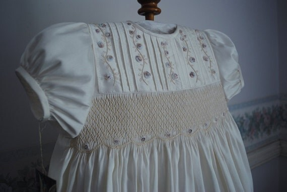 Reserved for Marnie. A Beautiful Christening Gown created in Ivory Silk Taffeta - Lilly size 6-12 months
