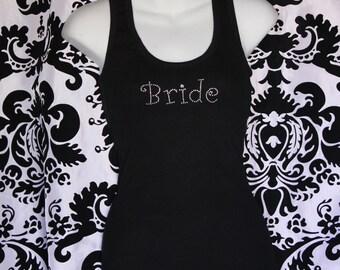 Bride Girly Rhinestone Tank top or Tee in SM- 3xl, Plus size Bride Tank, Plus size Bride bling, Bride Tank, Bride Tee, Bride Lace Tank