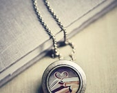 SALE - 50% OFF Photo Locket: Vintage Book Love, Wearable Art Locket Necklace, Heart and Books Gift for her, Photo Locket