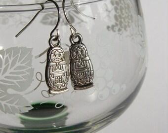 Tiny Tibetan Silver Russian Doll Earrings Babushka Ear rings