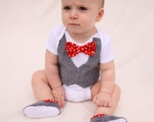 Baby boy shirt, bow tie shirt, Baby boy photo prop, Red bow tie