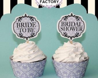 Printable Bridal Shower Cupcake Toppers - Lavender