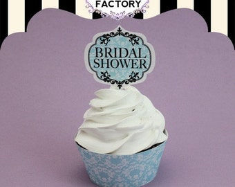 Printable Bridal Shower Cupcake Toppers - Blue