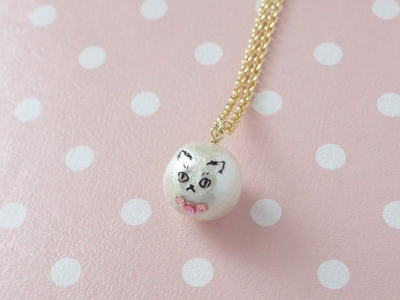 catty candy cotton pearl necklace - Coco (cat faced pearl)