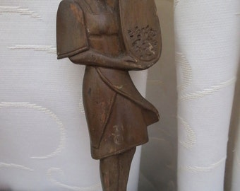 Vintage Wood Hand Carved Folk Woman With Grain