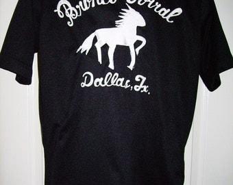 Bronco Bowl Bowling Shirt Vintage King Louie Polo Shirt 1970s Mens Large M L Ready to personalize Dallas Texas rockabilly Stallion Horse