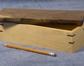 Maple and Walnut Lift Top Pencil Box
