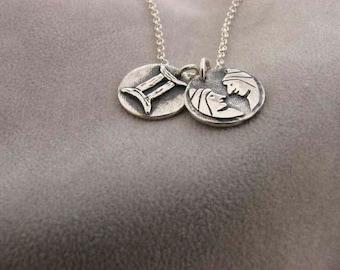 Sterling Silver Gemini Zodiac Sign Necklace