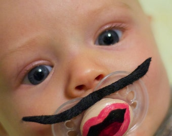 The Black Pencil Custom Hand Painted & Hand Cut Mustache Pacifier by PiquantDesigns