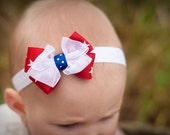 4th of July Baby Headband, Baby Bow, Boutique Bow, Baby 4th of July,  Baby Girl, 4th of July, petite headband