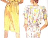 McCalls 3029 Womens 80s Mock Wrapped Pullover Dress Sewing Pattern with Belt Bust 32