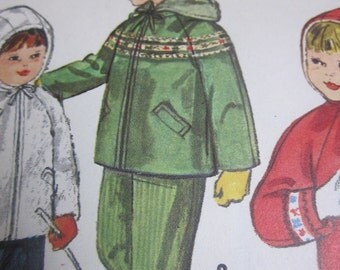 Simplicity 4636 Child's 50s Hooded Snow Jacket & Pants Sewing Pattern Chest Breast 23