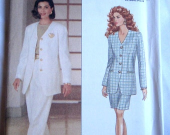 Butterick 6588 Evan Picone Womens 90s Suit Jacket Skirt Pants Sewing Pattern Bust 34 36 38